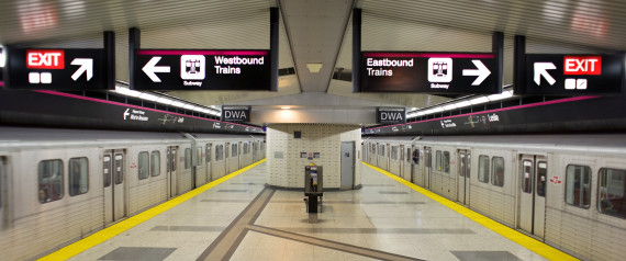 Trains in station on Sheppard subway line, Toronto, Ontario