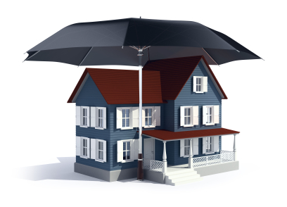 Insurance concept -  house under umbrella isolated over white