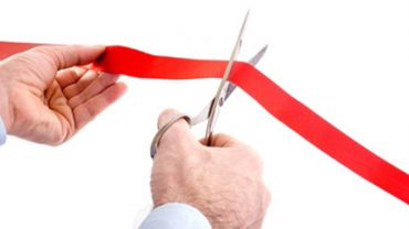 cutting of a red ribbon, new business venture