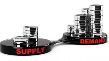 Supply and demand concept abstract coins piles. Conceptual image for business analysis.